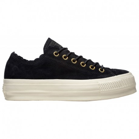 Converse All Star Gold Converse All Star Lift Ox Frilly Thrills - Women's Black/Gold/Egret