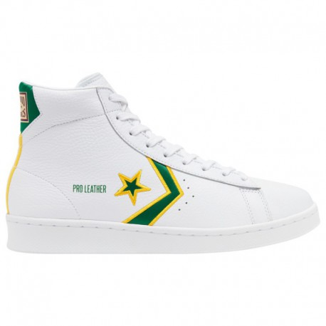 Converse Shoes Yellow Men's Converse Breaking Down Barriers Pro Leather - Men's White/Green/Yellow | 41-00303 0 4