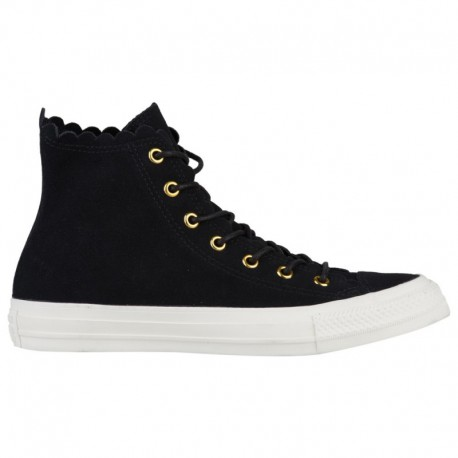 All Star Converse Shoes Online Shopping Converse All Star Hi Frilly Thrills Suede - Women's Black/Gold/Egret