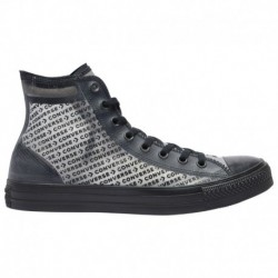 Converse All Star All Black Leather Converse All Star Hi - Men's Black/Black/Black   Translucent