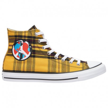 Converse All Star Shoes Yellow Converse All Star Hi - Men's Yellow/Black Plaid | Peace On Earth